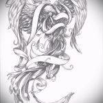 Крутой эскиз тату феникс – эксклюзивный рисунок для использования как эскиз для татуировки с огненной птицей