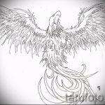 Крутой эскиз татуировки феникс – оригинальный рисунок для использования как эскиз для тату с огненной птицей