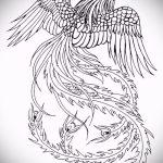 Крутой эскиз тату феникс – эксклюзивный рисунок для использования как эскиз для татуировки с фениксом
