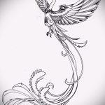 Необычный эскиз татуировки феникс – красивый рисунок для использования как эскиз для тату с огненной птицей