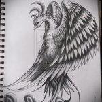 Интересный эскиз тату феникс – оригинальный рисунок для использования как эскиз для татуировки с огненной птицей