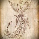 Эксклюзивный эскиз наколки феникс – красивый рисунок для использования как эскиз для тату с огненной птицей