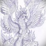 Крутой эскиз тату феникс – стильный рисунок для использования как эскиз для татуировки с огненной птицей