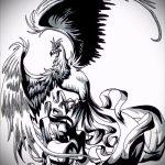 Эксклюзивный эскиз наколки феникс – оригинальный рисунок для использования как эскиз для тату с огненной птицей