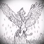 Интересный эскиз наколки феникс – стильный рисунок для использования как эскиз для татуировки с фениксом