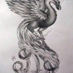 Крутой эскиз тату феникс – оригинальный рисунок для использования как эскиз для татуировки с огненной птицей