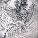 Классный эскиз тату феникс – стильный рисунок для использования как эскиз для тату с фениксом