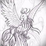 Классный эскиз татуировки феникс – красивый рисунок для использования как эскиз для тату с фениксом