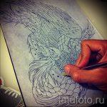 Крутой эскиз тату феникс – красивый рисунок для использования как эскиз для тату с фениксом