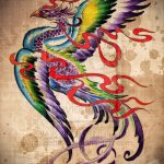 Необычный эскиз тату феникс – эксклюзивный рисунок для использования как эскиз для тату с огненной птицей