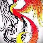Классный эскиз наколки феникс – стильный рисунок для использования как эскиз для тату с фениксом