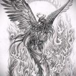 Крутой эскиз татуировки феникс – эксклюзивный рисунок для использования как эскиз для татуировки с огненной птицей