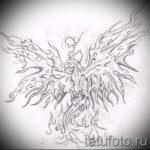Интересный эскиз тату феникс – стильный рисунок для использования как эскиз для тату с огненной птицей