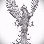 Классный эскиз татуировки феникс – красивый рисунок для использования как эскиз для татуировки с фениксом