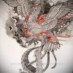 Эксклюзивный эскиз татуировки феникс – эксклюзивный рисунок для использования как эскиз для татуировки с огненной птицей