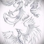 Необычный эскиз наколки феникс – красивый рисунок для использования как эскиз для тату с огненной птицей