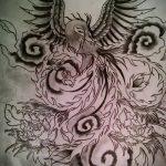 Необычный эскиз наколки феникс – стильный рисунок для использования как эскиз для татуировки с фениксом