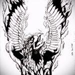 Классный эскиз татуировки феникс – эксклюзивный рисунок для использования как эскиз для тату с огненной птицей