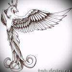 Интересный эскиз наколки феникс – стильный рисунок для использования как эскиз для татуировки с огненной птицей