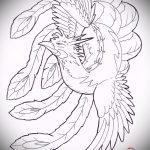 Крутой эскиз наколки феникс – эксклюзивный рисунок для использования как эскиз для татуировки с фениксом