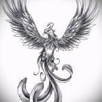 Необычный эскиз наколки феникс – стильный рисунок для использования как эскиз для татуировки с огненной птицей
