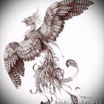 Интересный эскиз татуировки феникс – стильный рисунок для использования как эскиз для татуировки с огненной птицей