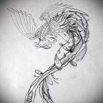 Необычный эскиз тату феникс – оригинальный рисунок для использования как эскиз для татуировки с огненной птицей