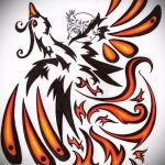 Интересный эскиз наколки феникс – стильный рисунок для использования как эскиз для тату с фениксом