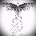 Необычный эскиз татуировки феникс – стильный рисунок для использования как эскиз для тату с огненной птицей
