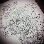 Интересный эскиз наколки феникс – красивый рисунок для использования как эскиз для татуировки с фениксом