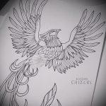 Эксклюзивный эскиз тату феникс – стильный рисунок для использования как эскиз для тату с огненной птицей
