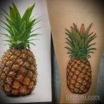 Интересный вариант нанесенной наколки ананас – рисунок подойдет для тату ананас на пояснице