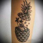Классный вариант выполненной татуировки ананас – рисунок подойдет для тату ананас на руке