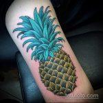 Зачетный вариант выполненной тату ананас – рисунок подойдет для тату ананас на пояснице