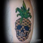 Крутой вариант нанесенной тату ананас – рисунок подойдет для тату ананас tiny love