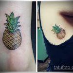 Интересный вариант существующей тату ананас – рисунок подойдет для тату ананас на ноге