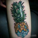Уникальный вариант нанесенной тату ананас – рисунок подойдет для тату ананаса на ноге
