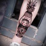 Оригинальный пример выполненной тату ананас – рисунок подойдет для тату ананас на руке