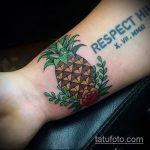Уникальный вариант существующей наколки ананас – рисунок подойдет для тату ананас на пальце
