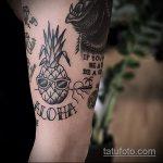 Прикольный вариант нанесенной тату ананас – рисунок подойдет для тату ананас на бедре