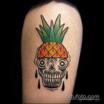 Зачетный вариант существующей тату ананас – рисунок подойдет для тату ананас на бедре