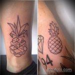 Оригинальный вариант выполненной наколки ананас – рисунок подойдет для тату ананас акварель