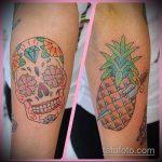 Прикольный вариант существующей тату ананас – рисунок подойдет для тату ананас на ноге