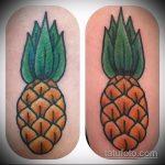 Оригинальный пример готовой наколки ананас – рисунок подойдет для тату ананаса на ноге