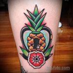 Зачетный вариант выполненной татуировки ананас – рисунок подойдет для тату ананас на пальце