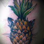 Интересный пример нанесенной наколки ананас – рисунок подойдет для tattoo ananas