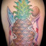 Оригинальный вариант готовой тату ананас – рисунок подойдет для тату ананас на запястье