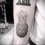 Классный вариант существующей тату ананас – рисунок подойдет для тату ананас на руке