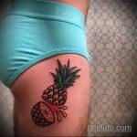Крутой пример нанесенной татуировки ананас – рисунок подойдет для тату ананас на пояснице