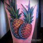 Классный вариант выполненной татуировки ананас – рисунок подойдет для тату ананас акварель